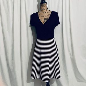Navy blue with stripes dress